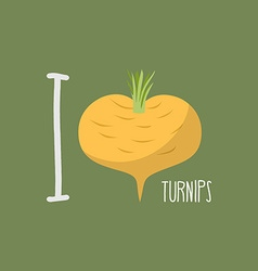 I love turnips heart of yellow turnips vector image