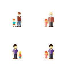 Icon flat relatives set of grandchild daugther vector