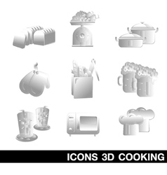 Icon Set Cooking 3D vector image