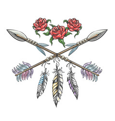 indian arrows with feathers and rose flowers vector image