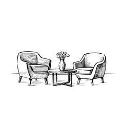 Interior design doodle vector