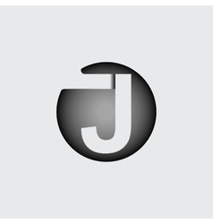 Letter j made wide white stripes vector