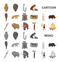 Life in the stone age cartoon icons in set vector