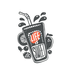 life is sweet kitchen quote on fruit and berry vector image