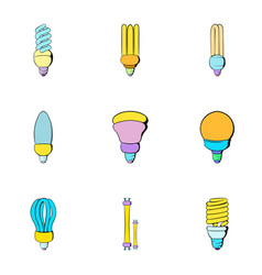 Lightbulb icons set cartoon style vector