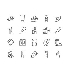 line cosmetics icons vector image