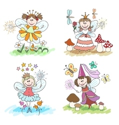 Little fairy children drawings vector image