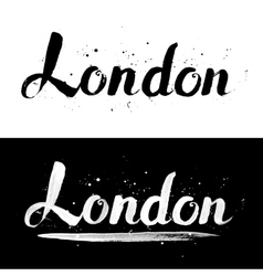 London calligraphy hand-drawn signs vector