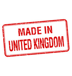 Made in united kingdom red square isolated stamp vector