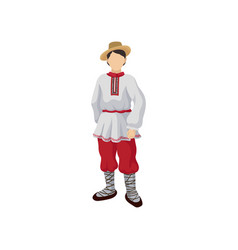 man in folk romanian costume shirt with vector image