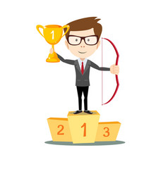 Man proudly standing holding up winning trophy vector