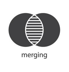 Merging glyph icon vector