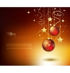 Merry Christmas gold greeting card with red vector