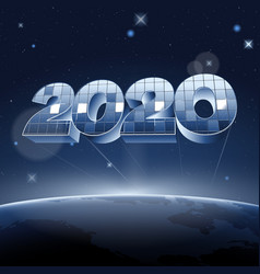 mirror digits 2020 in space above planet earth vector image