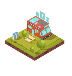 Mobile home isometric composition vector
