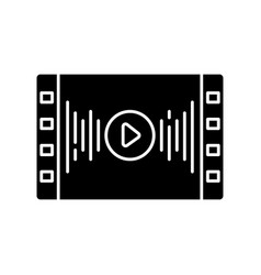 Music video black glyph icon vector