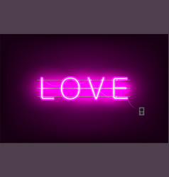neon sign word love on dark background vector image