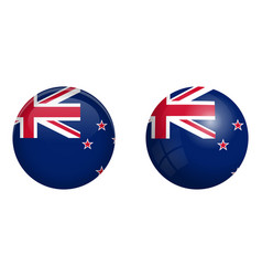 new zealand flag under 3d dome button and on vector image