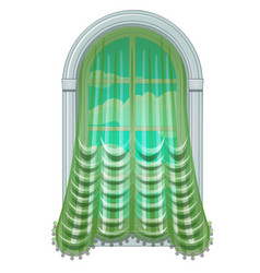 Old fashioned window draped with green curtain vector