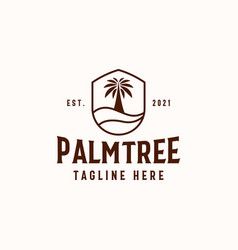 Palm tree logo template isolated in white vector