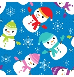 pattern with snowmen vector image