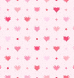 Pink retro seamless pattern Hearts and dots vector