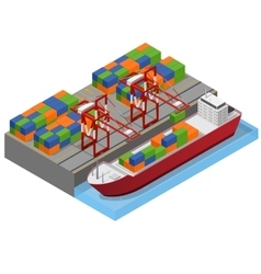 Port Town and Barge Ship Isometric View vector