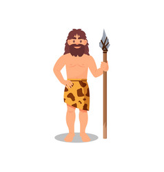 prehistoric caveman in animal skin holding spear vector image