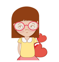 Pretty girl with hearts and glasses vector