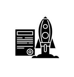 project launch black icon sign on isolated vector image