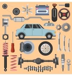 Repair of machines and equipment Flat vector image