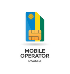 Rwanda mobile operator sim card with flag vector