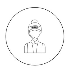 saleswoman icon in outline style isolated on white vector image vector image