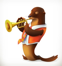 Seal playing trumpet funny character mesh vector image
