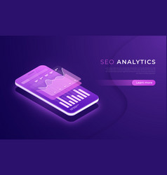 seo analytics data analysis digital marketing vector image