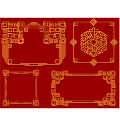 set of frames in chinese style for design of vector image