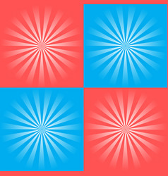 set of retro ray backgrounds of blue and red vector image