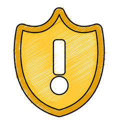 Shield with alert symbol vector
