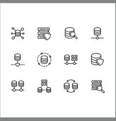 simple set databases line icon contains vector image