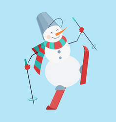 skiing snowman wearing a striped scarf and a vector image