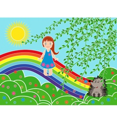 Small girl on the rainbow in sunny summer day vector image