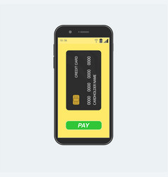 Smartphone with credit card and pay button vector