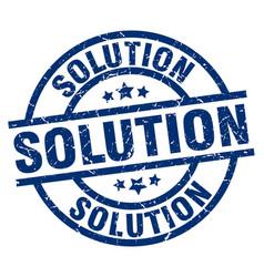 Solution blue round grunge stamp vector