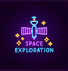 Space exploration neon label vector