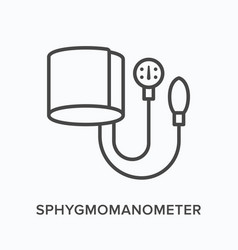 sphygmomanometer flat line icon outline vector image
