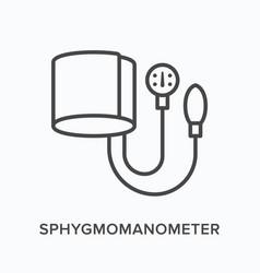 Sphygmomanometer flat line icon outline vector