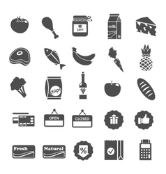 Supermarket Food Selection Icons Set vector