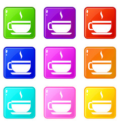 tea cup and saucer icons 9 set vector image