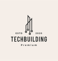 tech building hipster vintage logo icon vector image