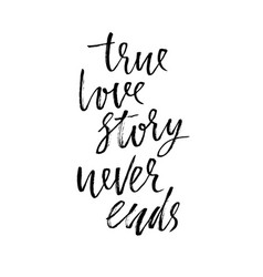 true love story never ends modern dry brush vector image
